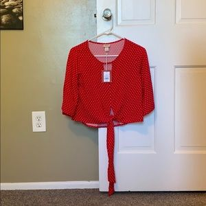 NWT Red Crop Top with Tie Front
